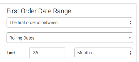 Choose your First Order Date Range. Without this it would include all customers since the creation of your Infusionsoft