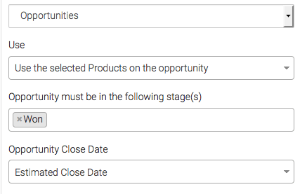 "Select the opportunity stage, for example ""Won"""