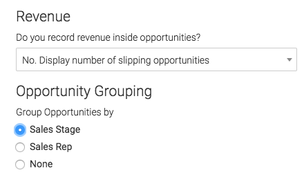 select how you want the opportunities grouped