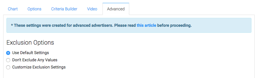 """Lastly, this report also has an """"Advanced"""" tab for seasoned advertisers who really want to customize the logic of how top results or bottom results are calculated. Most users will choose """"Use Default Settings""""."""