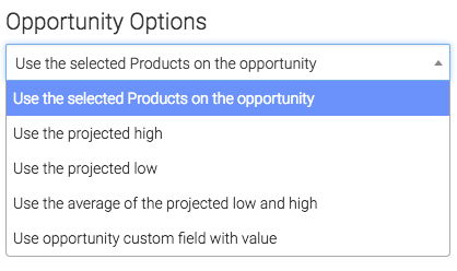 Selected products set for the opportunity options.