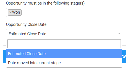"Select the ""Opportunity Close Date"""