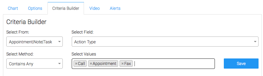 You can also filter appointments, notes, or tasks by Action Type