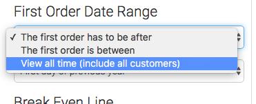 Date range options.