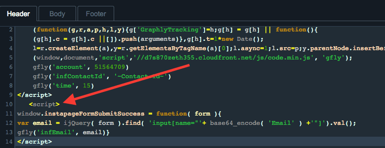 In order to send the field values as parameters to the thank you page, paste the script at the top of this page underneath the web tracker script