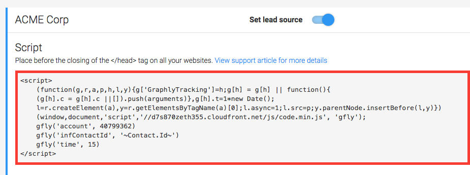 Copy the web tracker script and paste it between the head tags of your site
