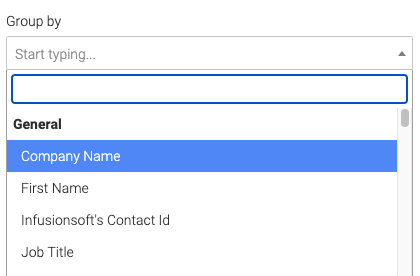 custom field drop down to group by