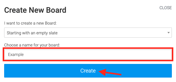 give the board a name and click create at the bottom of the modal