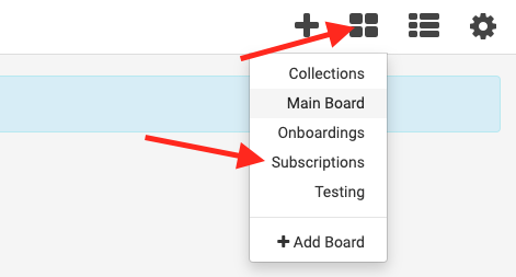 click the four square icon and select the board you would like to visit