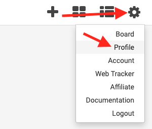 click the gear icon on the dashboard and select profile