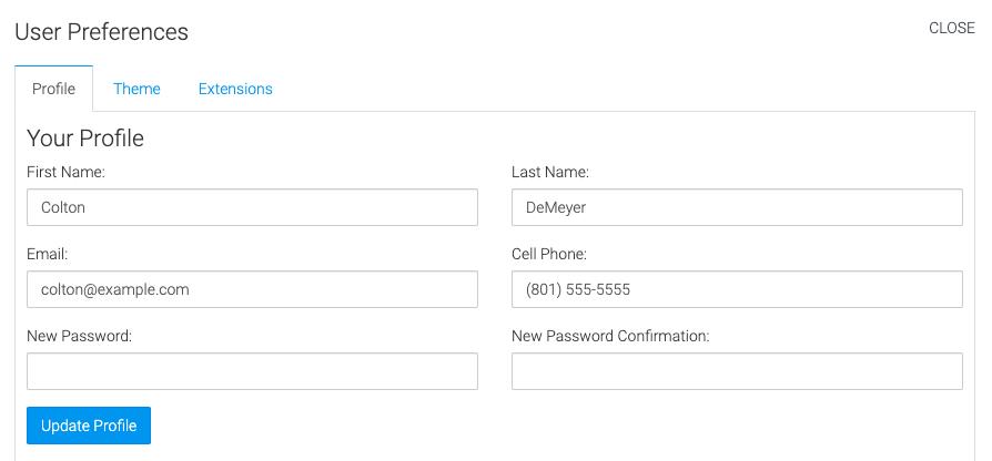 profile tab to change user information