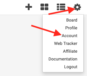 click the gear icon and select account to access account settings