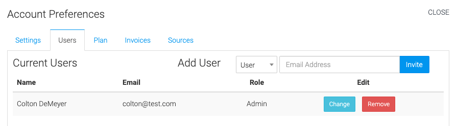 settings for managing users