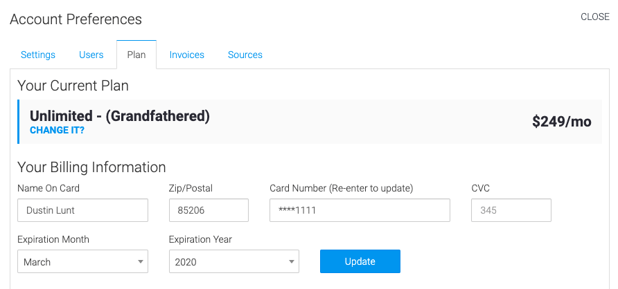the plan tab allows you to select your plan and edit payment information