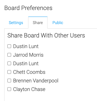 select a user to share the board with