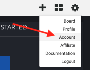 Click on the gear icon and then Account to go to your Infusionsoft account