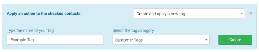 type a tag name, select a category, and click create