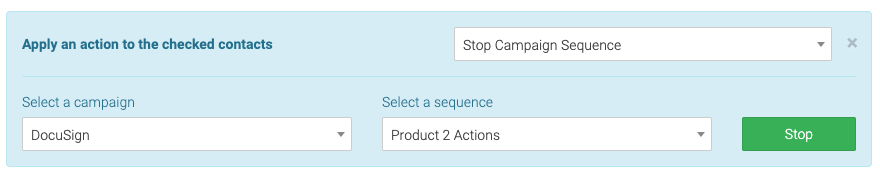 select a campaign and sequence to remove contacts from