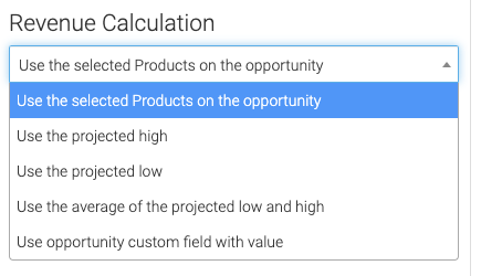 Select how you want the revenue to be calculated