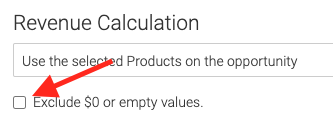 Select whether you want to exclude $0 or empty values form the field selected above.