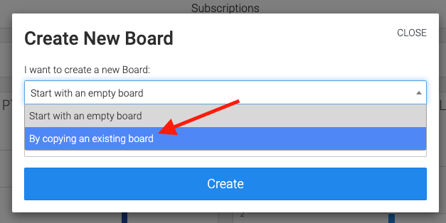arrow pointing to copy existing board