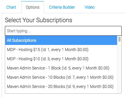 Subscription dropdown shown