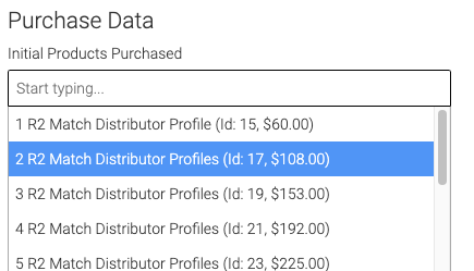 drop down for initial products purchased