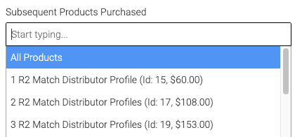 subsequent products drop down.